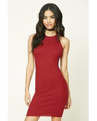 Forever 21 | Red Ribbed Knit Bodycon Dress | Lyst