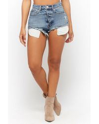 Forever 21 - Blue High-rise Button Fly Denim Shorts - Lyst