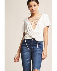 Forever 21 White Sheer Lace-up Surplice Top