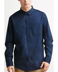 Forever 21 - Blue Classic Button-collar Shirt for Men - Lyst