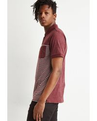 Forever 21 - Red Striped Colorblock Polo for Men - Lyst