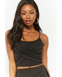Forever 21 - Black Draped Crop Top - Lyst