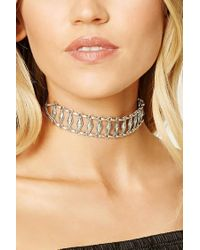 Forever 21 - Metallic Etched Geo Choker - Lyst
