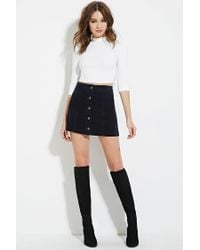 Forever 21 - Blue Corduroy Buttoned Skirt - Lyst