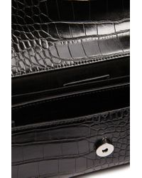 Forever 21 - Black Faux Croc Leather Chain-strap Crossbody - Lyst