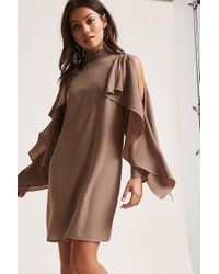 Forever 21 - Brown Open-shoulder Shift Dress - Lyst