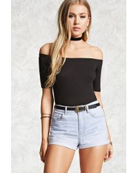 Forever 21 - Blue Women's Cuffed Denim Shorts - Lyst