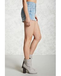 Forever 21 | Blue Distressed Frayed Denim Shorts | Lyst