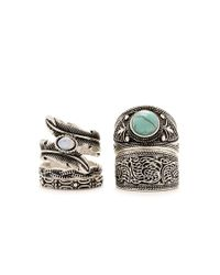 Forever 21 - Blue Burnished Feather Ring Set - Lyst