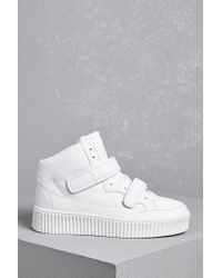 FOREVER21 - White Faux Leather Flatform Sneakers - Lyst