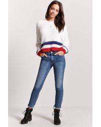 Forever 21 - White Fuzzy Knit High-low Sweater - Lyst