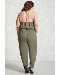 Forever 21 - Green Plus Size Halter Jumpsuit - Lyst