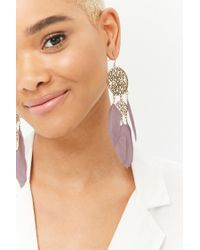 Forever 21 - Multicolor Faux Feather Drop Earrings - Lyst