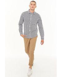 Forever 21 - Black Striped Button-front Pocket Shirt for Men - Lyst