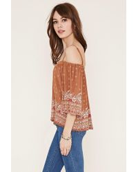 Forever 21 - Brown Open-shoulder Crepe Top - Lyst