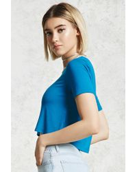 Forever 21 - Blue Contrast Trim Tee - Lyst