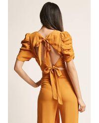 Forever 21 - Orange Self-tie Puff-sleeve Crop Top - Lyst