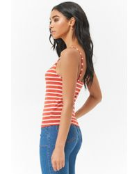 Forever 21 - Red Striped Caged Cami - Lyst