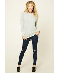 Forever 21 - Gray Marled Knit Jumper - Lyst