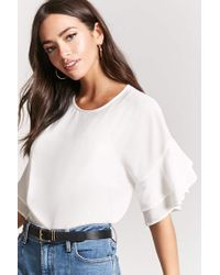 Forever 21 - White Ruffle-sleeve Chiffon Top - Lyst