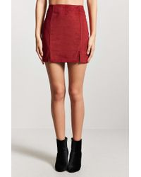 Forever 21 - Red Faux Suede Mini Skirt - Lyst