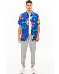 Forever 21 - Blue Tropical Floral Chest Pocket Shirt for Men - Lyst