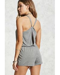 ec70bd661041 Forever 21 Twist-back Playsuit in Gray - Lyst