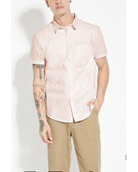 Forever 21 - Pink 's Striped Cotton Shirt for Men - Lyst