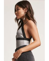 Forever 21 - Black Ribbed Metallic Bodysuit - Lyst