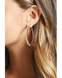 Forever 21 - Metallic Rhinestone Hoop Earrings - Lyst