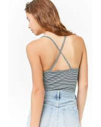 Forever 21 - Blue Pinstriped Cami Bodysuit - Lyst