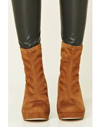Forever 21 - Brown Faux Suede Sock Boots - Lyst