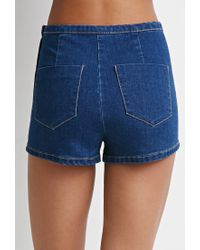 Forever 21 - Blue Flat Front Denim Shorts - Lyst