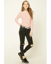Forever 21 - Pink Waffle Knit Crew Neck Top - Lyst