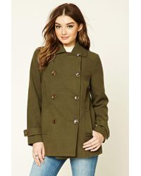 Forever 21 | Blue Double-breasted Pea Coat | Lyst