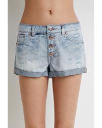 Forever 21 - Blue Mid-rise Cuffed Denim Shorts - Lyst