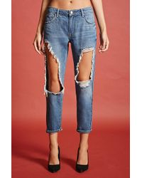 Forever 21 Blue Destroyed Boyfriend Jeans