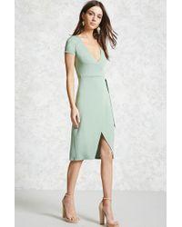 Forever 21 - Green Surplice Wrap Dress - Lyst