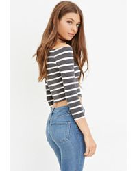 Forever 21 - Gray Striped Crop Top - Lyst