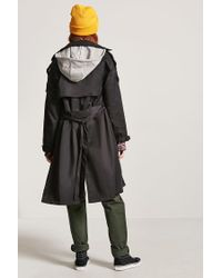 Forever 21 - Black Hooded Trench Coat - Lyst