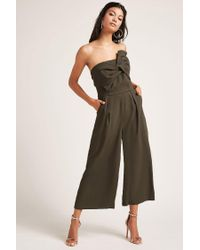 e91b36e93787 Lyst - Forever 21 Strapless Twist-front Jumpsuit in Green