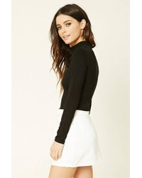 Forever 21 - Black Mock Neck Crop Top - Lyst