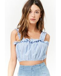 Forever 21 - Blue Ruffled Pinstripe Crop Top - Lyst