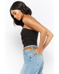 Forever 21 - Black Tie-front Ribbed Tube Top - Lyst