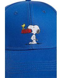 Forever 21 Blue Men Snoopy & Woodstock Graphic Snapback Hat for men