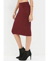 Forever 21 | Purple Sweater-knit Pencil Skirt | Lyst