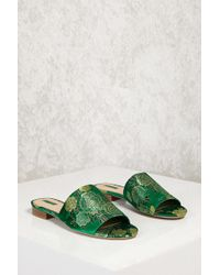 0a61ae50053 Forever 21 Floral Embroidered Satin Mules in Green - Lyst