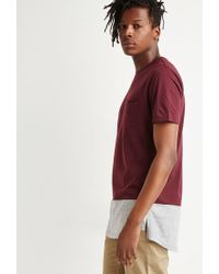 Forever 21 - Red Colorblock Longline Tee for Men - Lyst