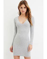 Forever 21 - Gray V-neck Bodycon Dress - Lyst