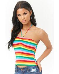 Forever 21 - Multicolor Women's Rainbow-stripe Halter Top - Lyst